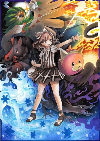 Tags: Anime, Mosho, Pokémon Sun & Moon, Pokémon, Female Protagonist (Pokémon Sun/Moon), Mudsdale, Magnezone, Salazzle, Bewear, Ninetales, Decidueye, Traditional Media, Mobile Wallpaper