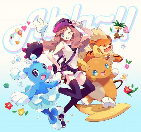 Tags: Anime, Welchino, Pokémon Sun & Moon, Pokémon, Mizuki (Pokémon), Raichu, Luvdisc, Brionne, Pyukumuku, Exeggutor, Twitter, PNG Conversion, Fanart
