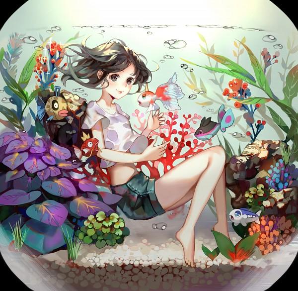 Tags: Anime, Pixiv Id 4329967, Pokémon Sun & Moon, Pokémon, Mizuki (Pokémon), Feebas, Magikarp, Goldeen, Wishiwashi, Finneon, Coral, Green Shorts, Fanart