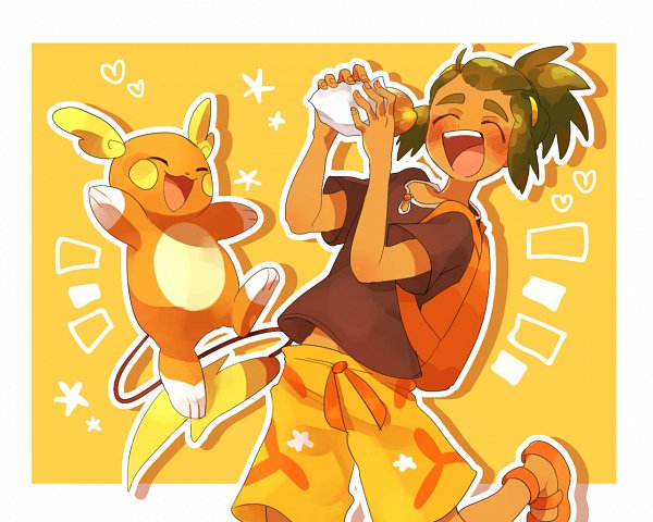 Tags: Anime, Pixiv Id 18377048, Pokémon Sun & Moon, Pokémon, Raichu, Hau (Pokémon), Fanart, Pixiv, Alola Form, Wallpaper, Fanart From Pixiv