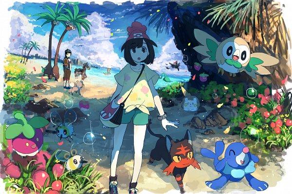 Tags: Anime, Pixiv Id 1922055, Pokémon Sun & Moon, Pokémon, Mizuki (Pokémon), Cutiefly, Popplio, Exeggutor, Pikipek, Litten, Mudsdale, Rockruff, Rowlet