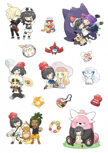 Tags: Anime, Pixiv Id 2427989, Pokémon Sun & Moon, Pokémon, Cutiefly, Acerola, Raichu, Grubbin, Cosmog, Bewear, Gengar, Lillie (Pokémon), Gladion
