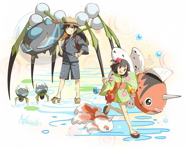 Tags: Anime, Pixiv Id 3226489, Pokémon Sun & Moon, Pokémon, Araquanid, Dewpider, You (Pokémon), Seaking, Mizuki (Pokémon), Goldeen, Pixiv, Twitter, Fanart From Pixiv