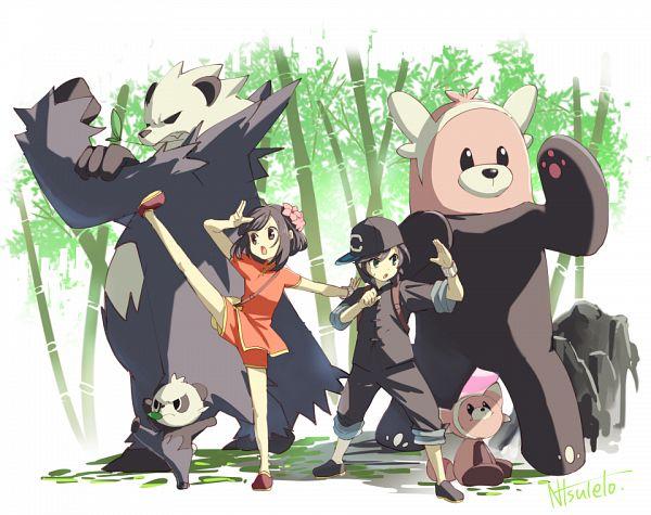 Tags: Anime, Pixiv Id 3226489, Pokémon Sun & Moon, Pokémon, Stufful, Pancham, Bewear, You (Pokémon), Mizuki (Pokémon), Pangoro, Tangzhuang, Red Shorts, Pixiv