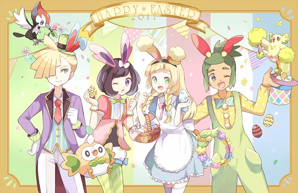 Tags: Anime, May (Pixiv Id 233774), Pokémon Sun & Moon, Pokémon, Comfey, Rowlet, Pikipek, Lillie (Pokémon), Gladion, Hau (Pokémon), Oricorio, Mizuki (Pokémon), Spotted Shirt