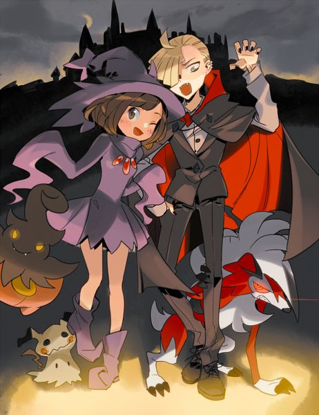 Tags: Anime, Pixiv Id 9697355, Pokémon Sun & Moon, Pokémon, Lycanroc, Gladion, Mimikyu, Mizuki (Pokémon), Pumpkaboo, Pokémon (Cosplay), Mismagius (Cosplay), Vampire Costume, Fanart
