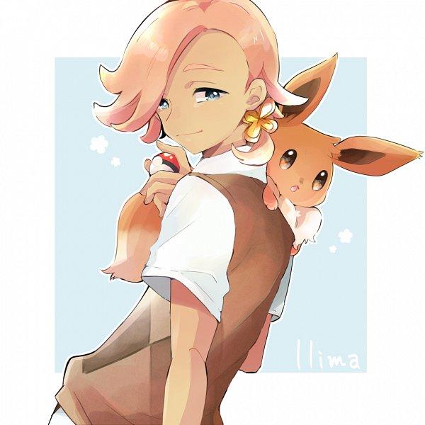 Tags: Anime, Pixiv Id 132660, Pokémon Sun & Moon, Pokémon, Eevee, Ilma, Aqua Background, Fanart, Fanart From Pixiv, Pixiv