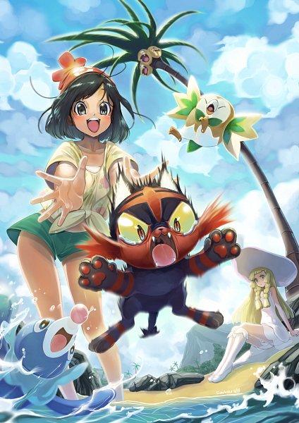 Tags: Anime, Eudetenis, Pokémon Sun & Moon, Pokémon, Mizuki (Pokémon), Exeggutor, Popplio, Litten, Rowlet, Lillie (Pokémon), Alola Form