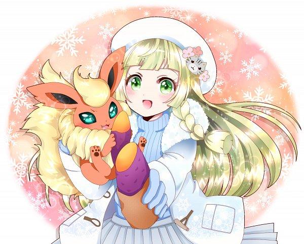 Tags: Anime, Pixiv Id 1376216, Pokémon Sun & Moon, Pokémon, Flareon, Lillie (Pokémon)