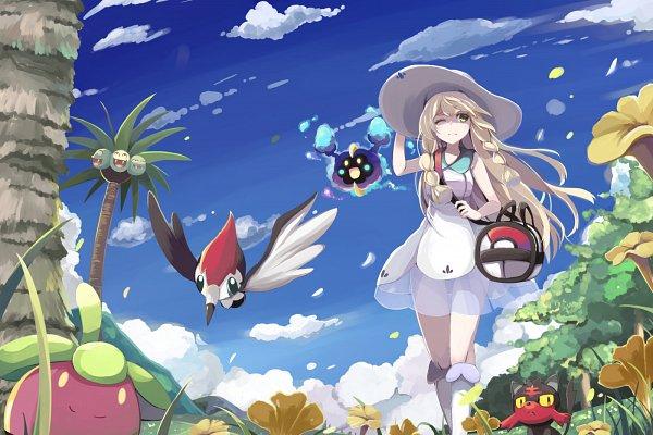 Tags: Anime, Pixiv Id 1882049, Pokémon Sun & Moon, Pokémon, Exeggutor, Cosmog, Lillie (Pokémon), Litten, Fanart From Pixiv, Fanart, Legendary Pokémon, Pixiv