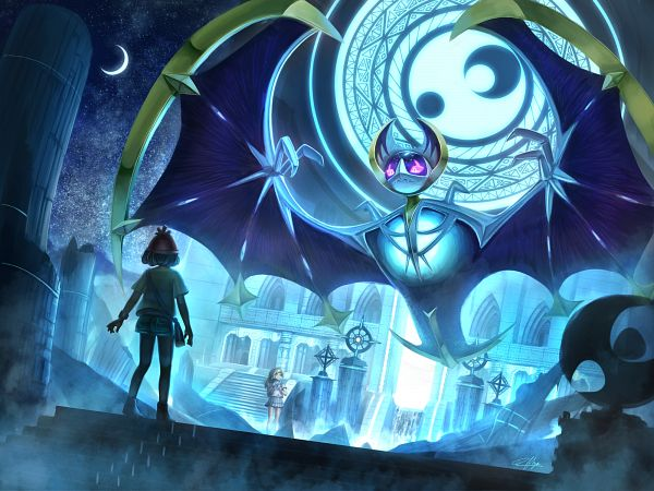 Tags: Anime, Pixiv Id 13813830, Pokémon Sun & Moon, Pokémon, Lillie (Pokémon), Lunala, Mizuki (Pokémon), Legendary Pokémon