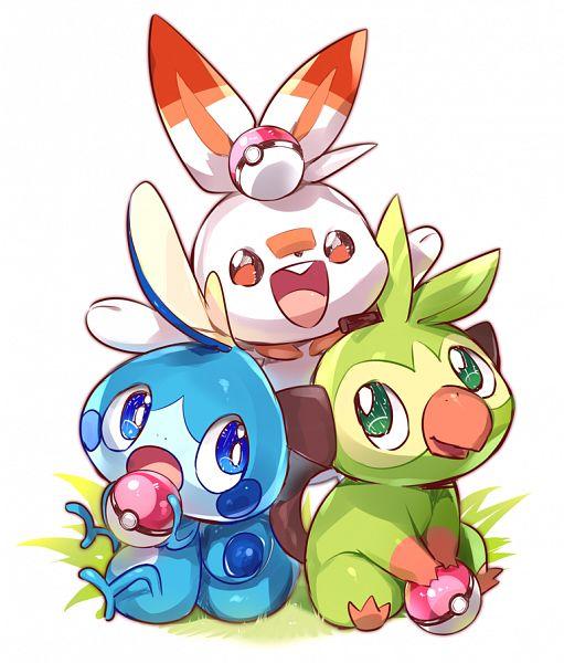Tags: Anime, 801yamaarashi, Pokémon Sword & Shield, Pokémon, Grookey, Scorbunny, Sobble, Pixiv, Fanart, Fanart From Pixiv