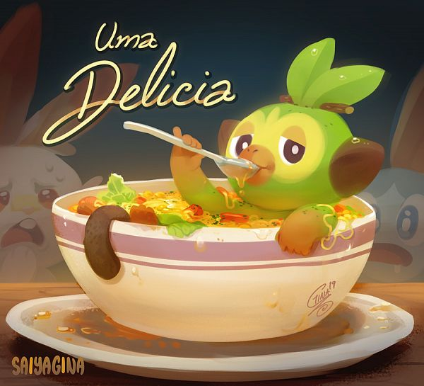 Tags: Anime, Gina Chacón, Pokémon Sword & Shield, Pokémon, Sobble, Grookey, Scorbunny, Soup, Sopa Do Macaco, Uma Delicia