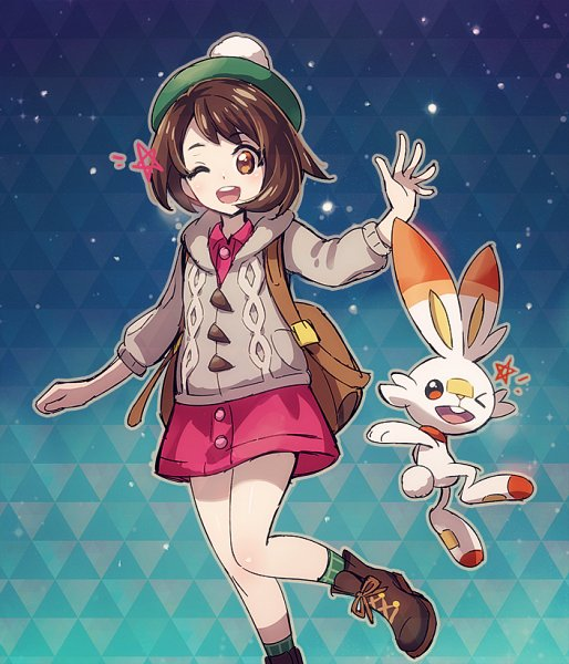 Tags: Anime, Kuma Kichi, Pokémon Sword & Shield, Pokémon, Scorbunny, Female Protagonist (Pokémon Sword & Shield), Fanart From Pixiv, Pixiv, Fanart
