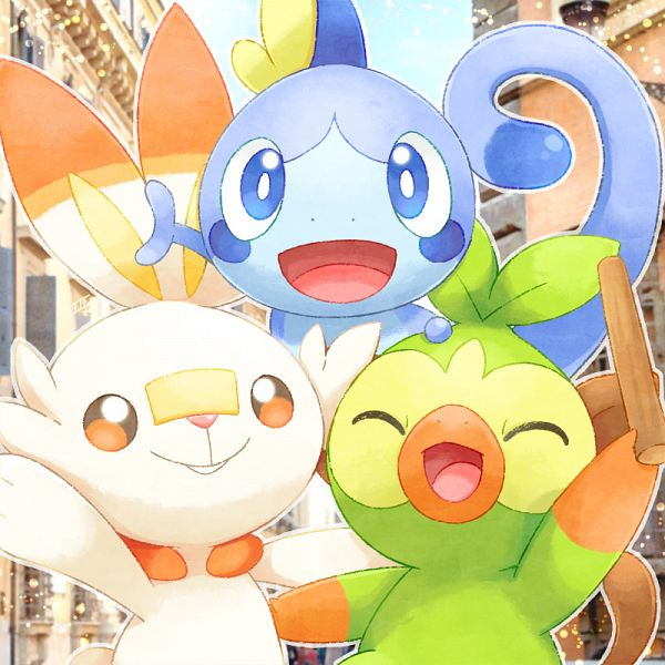 Tags: Anime, Pixiv Id 2584338, Pokémon Sword & Shield, Pokémon, Sobble, Grookey, Scorbunny