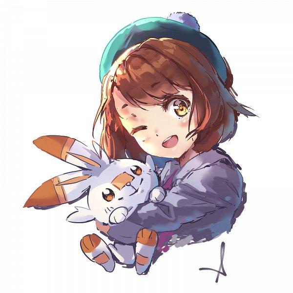 Tags: Anime, Pixiv Id 17582573, Pokémon Sword & Shield, Pokémon, Scorbunny, Female Protagonist (Pokémon Sword & Shield)