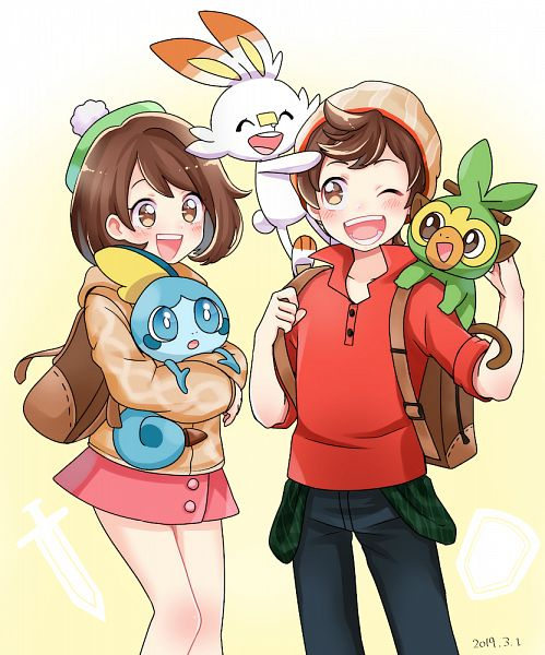 Tags: Anime, Pixiv Id 4092834, Pokémon Sword & Shield, Pokémon, Scorbunny, Male Protagonist (Pokémon Sword & Shield), Female Protagonist (Pokémon Sword & Shield), Sobble, Grookey