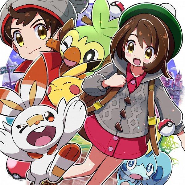 Tags: Anime, Kingin, Pokémon Sword & Shield, Pokémon, Scorbunny, Male Protagonist (Pokémon Sword & Shield), Female Protagonist (Pokémon Sword & Shield), Sobble, Pikachu, Grookey, Gray Hat, Gray Headwear, Pixiv