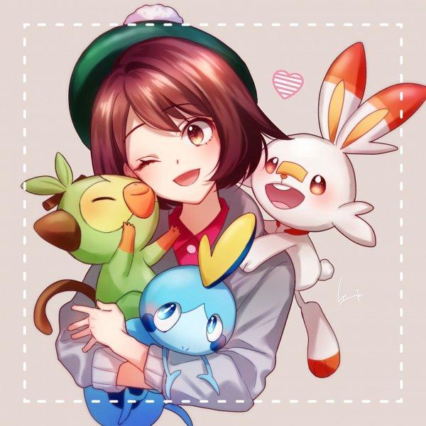 Tags: Anime, Pixiv Id 7515531, Pokémon Sword & Shield, Pokémon, Sobble, Grookey, Scorbunny, Female Protagonist (Pokémon Sword & Shield), Fanart, Fanart From Pixiv, Pixiv