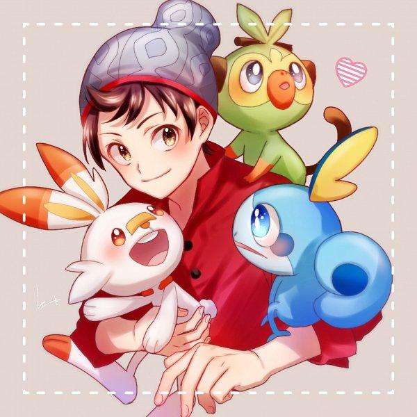 Tags: Anime, Pixiv Id 7515531, Pokémon Sword & Shield, Pokémon, Male Protagonist (Pokémon Sword & Shield), Sobble, Grookey, Scorbunny, Gray Hat, Gray Headwear, Fanart From Pixiv, Pixiv, Fanart