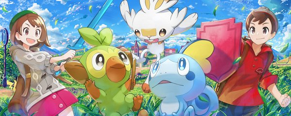 Tags: Anime, Yakkun, Pokémon Sword & Shield, Pokémon, Scorbunny, Male Protagonist (Pokémon Sword & Shield), Female Protagonist (Pokémon Sword & Shield), Sobble, Pikachu, Grookey, Gray Headwear, Gray Hat, Pixiv