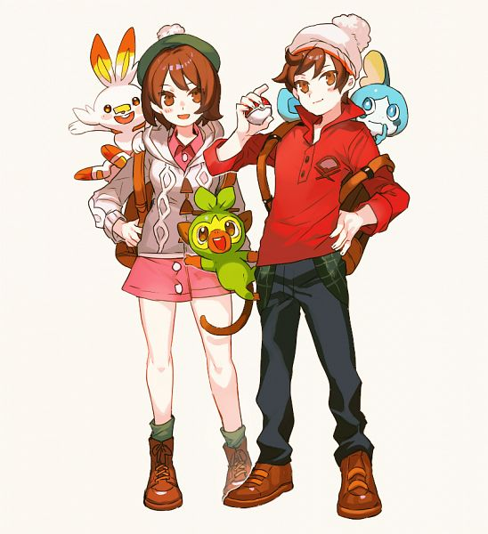 Tags: Anime, Shilla P, Pokémon Sword & Shield, Pokémon, Male Protagonist (Pokémon Sword & Shield), Female Protagonist (Pokémon Sword & Shield), Sobble, Grookey, Scorbunny, Green Legwear, Pixiv, Fanart, Fanart From Pixiv