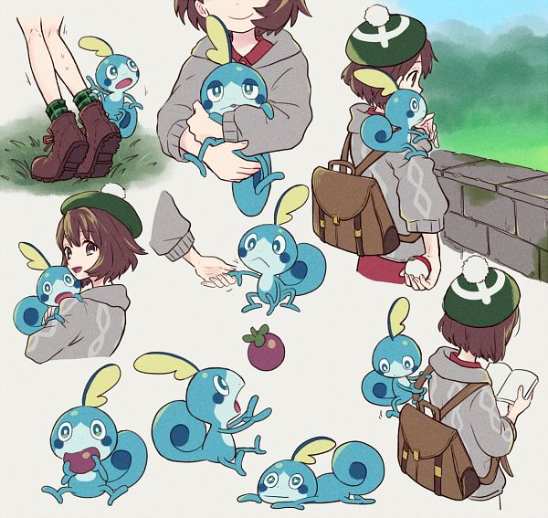 Tags: Anime, Pixiv Id 5792229, Pokémon Sword & Shield, Pokémon, Sobble, Female Protagonist (Pokémon Sword & Shield), Holding Baby, Fruit (Personification), Berry