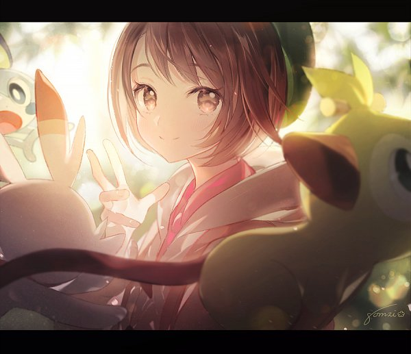 Tags: Anime, gomzi, Pokémon Sword & Shield, Pokémon, Scorbunny, Female Protagonist (Pokémon Sword & Shield), Sobble, Grookey, Tumblr, Fanart, Fanart From Tumblr