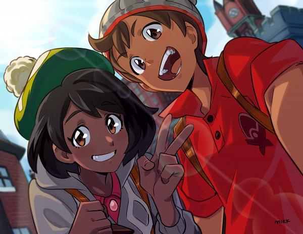Tags: Anime, Pixiv Id 6254183, Pokémon Sword & Shield, Pokémon, Male Protagonist (Pokémon Sword & Shield), Female Protagonist (Pokémon Sword & Shield), Gray Hat, Gray Headwear, Fanart From Pixiv, Pixiv, Fanart