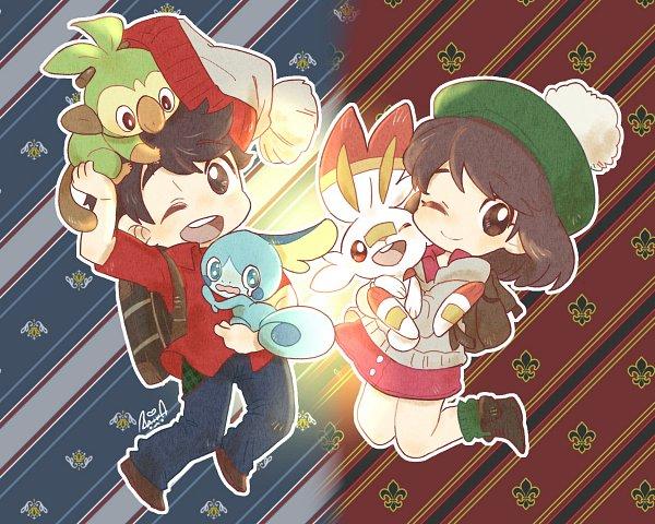 Tags: Anime, Shir0, Pokémon Sword & Shield, Pokémon, Grookey, Male Protagonist (Pokémon Sword & Shield), Female Protagonist (Pokémon Sword & Shield), Fanart From Pixiv, Pixiv, Fanart