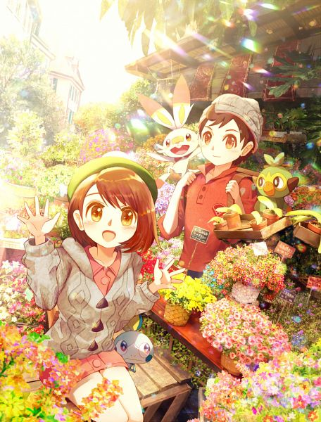Tags: Anime, Pixiv Id 1324419, Pokémon Sword & Shield, Pokémon, Male Protagonist (Pokémon Sword & Shield), Female Protagonist (Pokémon Sword & Shield), Sobble, Grookey, Scorbunny, Garden, Potted Plant