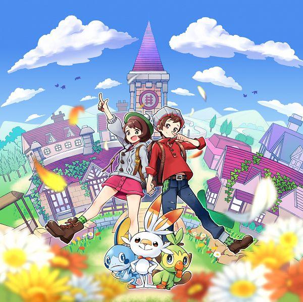 Tags: Anime, Pixiv Id 39800348, Pokémon Sword & Shield, Pokémon, Sobble, Grookey, Scorbunny, Male Protagonist (Pokémon Sword & Shield), Female Protagonist (Pokémon Sword & Shield)