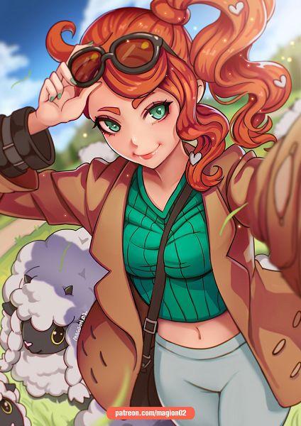 Tags: Anime, Magion02, Pokémon Sword & Shield, Pokémon, Sonia (Pokémon), Wooloo, Heart Hair Ornament, Heart Clip