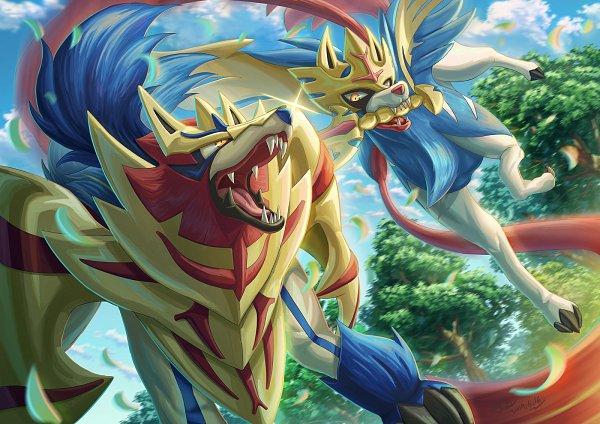 Tags: Anime, Pixiv Id 3512498, Pokémon Sword & Shield, Pokémon, Zamazenta, Zacian, Fanart, Fanart From Pixiv, Pixiv