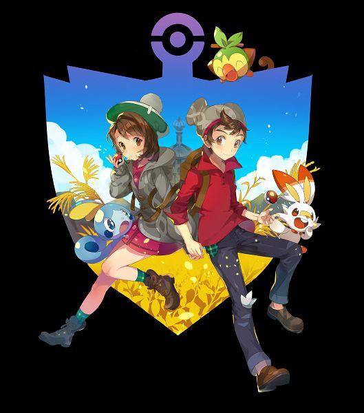 Tags: Anime, Pixiv Id 24604723, Pokémon Sword & Shield, Pokémon, Grookey, Scorbunny, Male Protagonist (Pokémon Sword & Shield), Female Protagonist (Pokémon Sword & Shield), Sobble