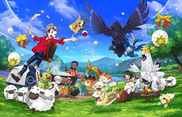 Tags: Anime, Nintendo, GAME FREAK, Pokémon Sword & Shield, Pokémon, Scorbunny, Alcremie, Eldegoss, Polteageist, Male Protagonist (Pokémon Sword & Shield), Yamper, Gossifleur, Morpeko