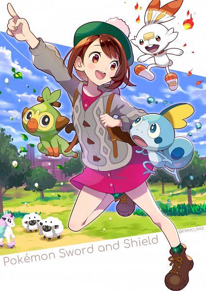 Tags: Anime, Nishimura Eri, Pokémon Sword & Shield, Pokémon, Grookey, Ponyta, Scorbunny, Wooloo, Female Protagonist (Pokémon Sword & Shield), Sobble, Alternate Appearance, Galar Form