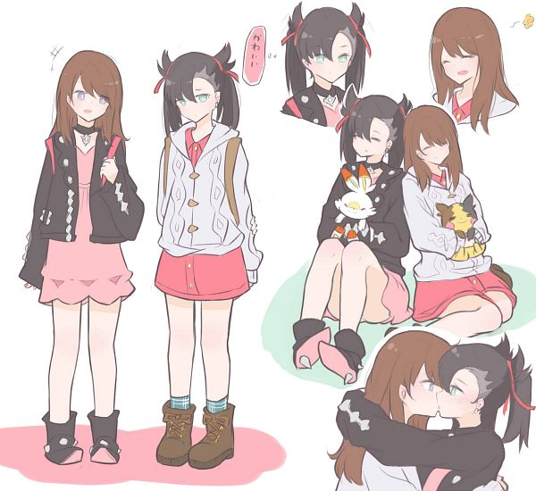 Tags: Anime, Pixiv Id 18836969, Pokémon Sword & Shield, Pokémon, Scorbunny, Female Protagonist (Pokémon Sword & Shield), Morpeko, Marie (Pokémon)