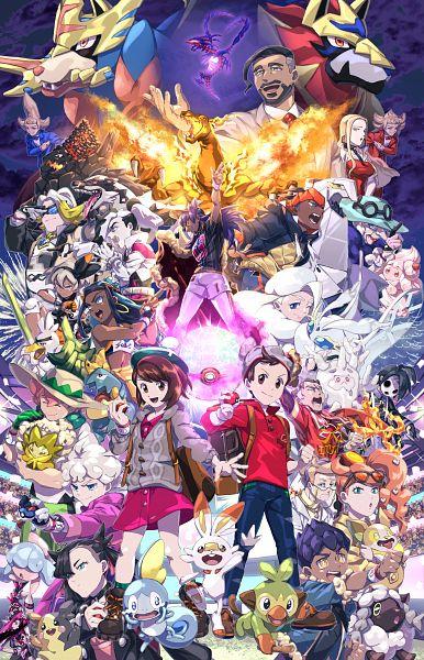 Tags: Anime, Pixiv Id 4288443, Pokémon Sword & Shield, Pokémon, Masaru (Pokémon), Kabu (Pokémon), Zamazenta, Shielbert, Saitou (Pokémon), Charizard, Sirfetch'd, Eldegoss, Cursola