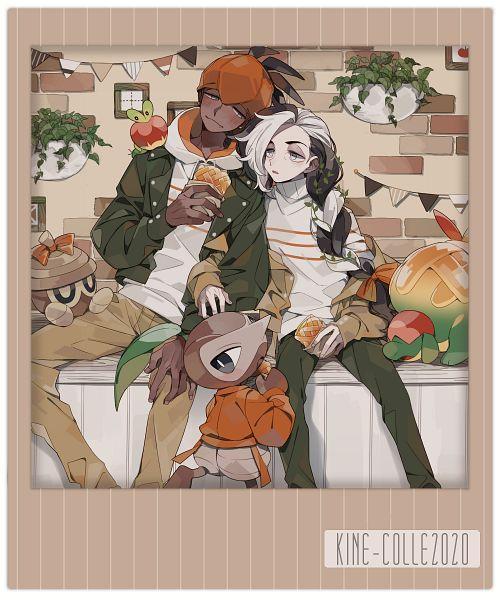 Tags: Anime, Painapparu, Pokémon Sword & Shield, Pokémon, Nezu (Pokémon), Raihan, Nuzleaf, Seedot, Applin, Appletun, Brick Wall, Pixiv, Fanart From Pixiv