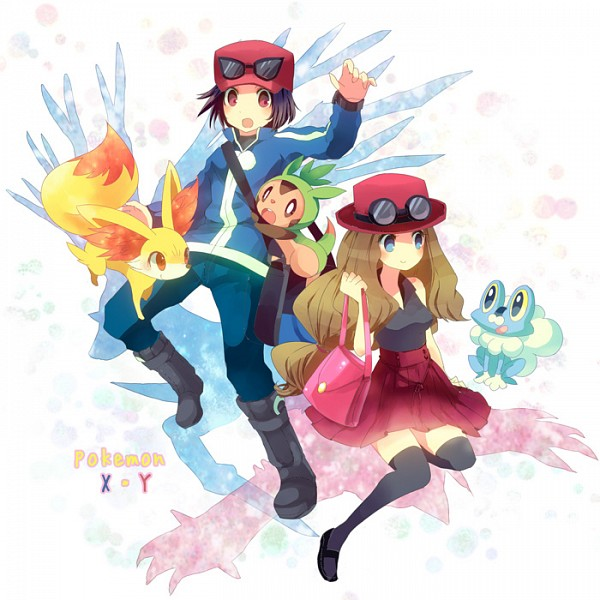Tags: Anime, Kokoroko, Pokémon X & Y, Pokémon, Froakie, Yveltal, Fennekin, Serena (Pokémon), Calme (Pokémon), Chespin, Xerneas, Pixiv, Fanart