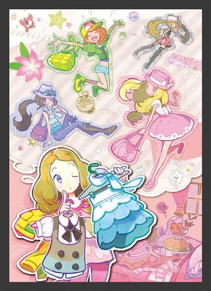 Tags: Anime, Oomura Yusuke, GAME FREAK, Nintendo, Pokémon X & Y, Pokémon, Spritzee, Fletchling, Serena (Pokémon), Official Art, Mobile Wallpaper, PNG Conversion