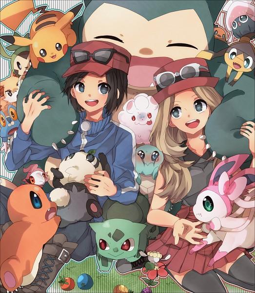 Tags: Anime, Pixiv Id 2432021, Pokémon X & Y, Pokémon, Froakie, Inkay, Bulbasaur, Sylveon, Fennekin, Flabébé, Charmander, Serena (Pokémon), Helioptile