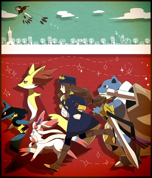 Tags: Anime, Pixiv Id 1247275, Pokémon X & Y, Pokémon, Aegislash, Delphox, Sylveon, Blastoise, Yveltal, Lucario, Serena (Pokémon), Pixiv, Fanart From Pixiv