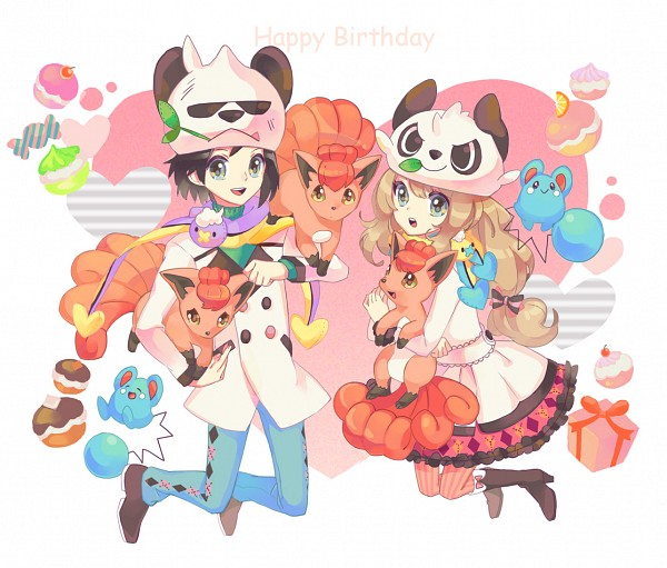 Tags: Anime, Rikovui, Pokémon X & Y, Pokémon, Serena (Pokémon), Calme (Pokémon), Azurill, Pangoro, Vulpix, Pancham, Panda Hat, Pandamimi, Bear Hat