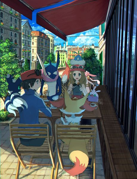 Tags: Anime, Pixiv Id 1922055, Pokémon X & Y, Pokémon, Sylveon, Greninja, Serena (Pokémon), Meowstic, Calme (Pokémon), Braixen, Talonflame, Absol, Goomy