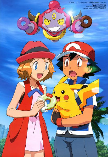 Tags: Anime, Oriental Light and Magic, Pokémon (Anime), Pokémon the Movie: Hoopa and the Clash of Ages, Pokémon, Hoopa, Satoshi (Pokémon), Serena (Pokémon), Pikachu, Scan, Mobile Wallpaper, Official Art, Legendary Pokémon