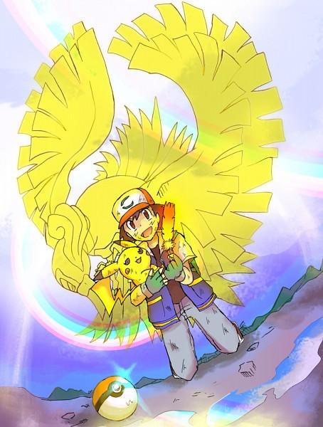 Tags: Anime, Pixiv Id 210476, Pokémon (Anime), Pokémon the Movie: I Choose You!, Pokémon, Ho-oh, Satoshi (Pokémon), Pikachu, Fanart, Fanart From Pixiv, PNG Conversion, Pixiv, Legendary Pokémon
