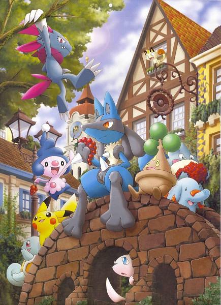 Tags: Anime, Nintendo, GAME FREAK, Pokémon (Anime), Pokémon the Movie: Lucario and the Mystery of Mew, Pokémon, Phanpy, Meowth, Munchlax, Pikachu, Lucario, Squirtle, Bonsly