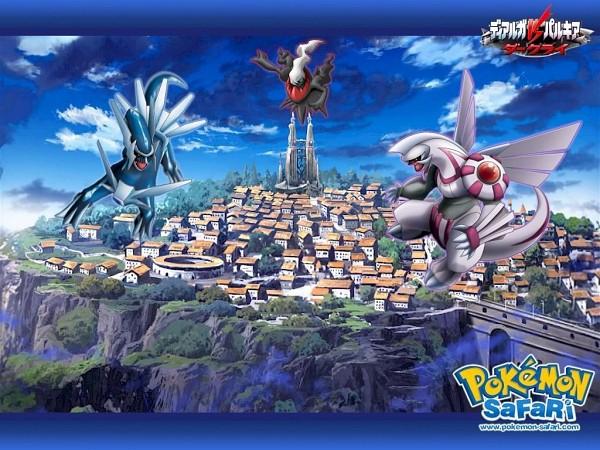 Tags: Anime, Pokémon (Anime), Pokémon the Movie: The Rise of Darkrai, Pokémon, Palkia, Dialga, Darkrai, Legendary Pokémon, Official Art